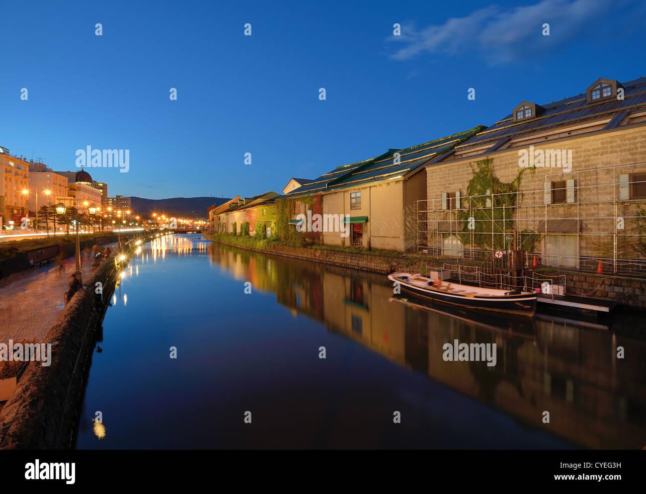 Historic Otaru Canals in Otaru, Hokkaido Prefecture, Japan. - Stock Image