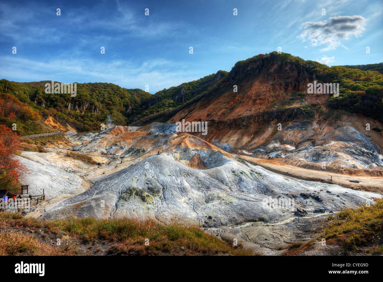Hell Valley (Jigokudani) in Noboribetsu, Hokkaido, Japan - Stock Image