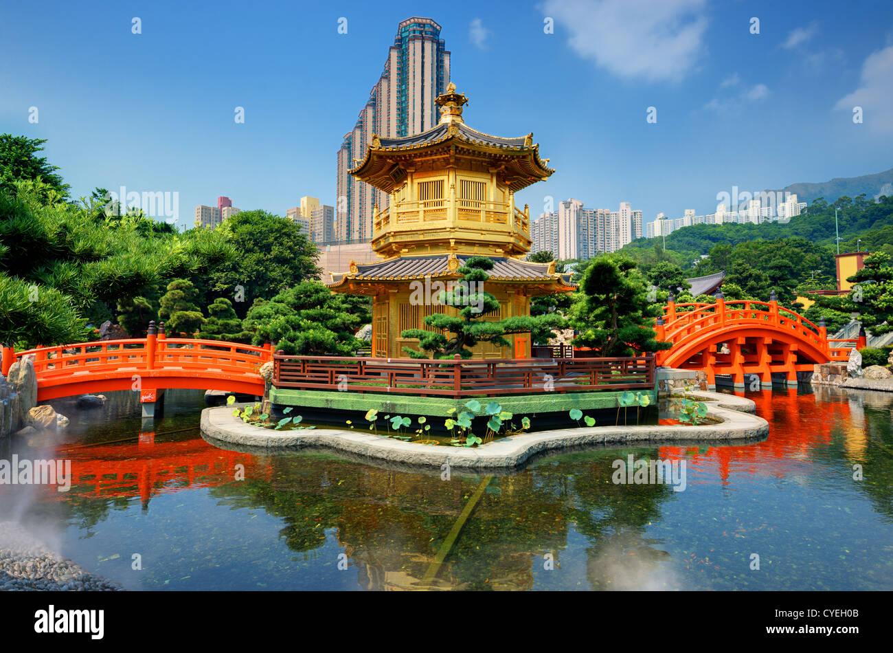 Golden Pavilion of Perfection in Nan Lian Garden, Hong Kong, China. Stock Photo