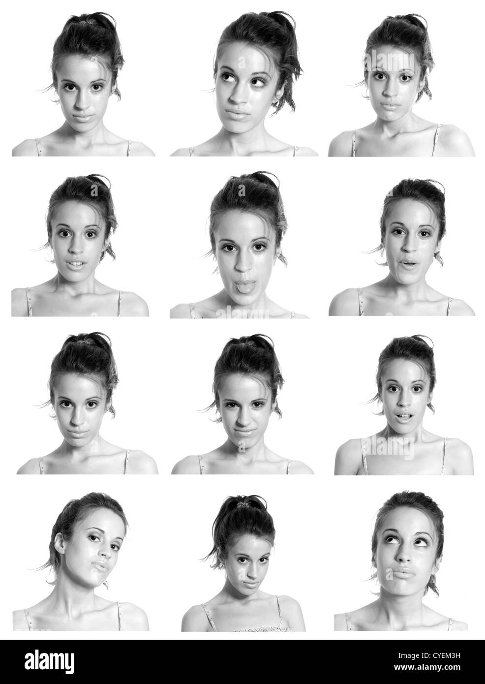 young woman face expressions composite black and white isolated. - Stock Image