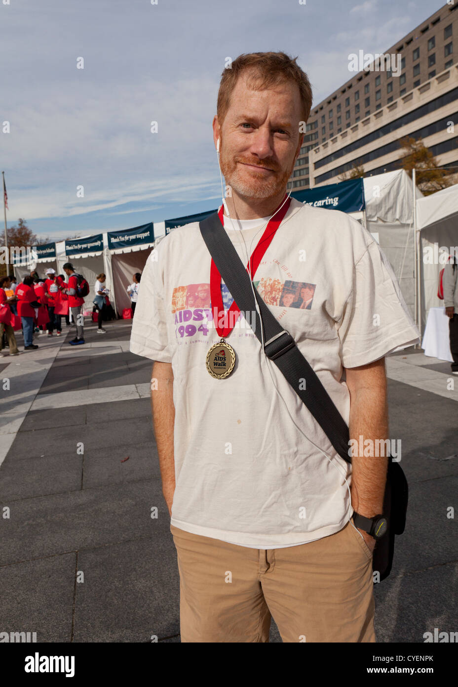 Caucasian male participant at the National AIDS Walk - Washington, DC - Stock Image