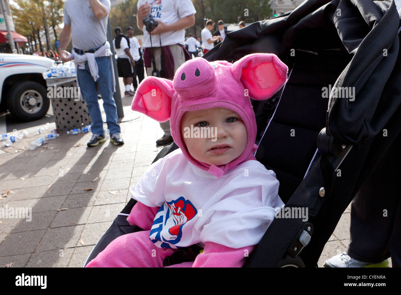 Caucasian baby dressed in piggy costume sitting in stroller - Stock Image