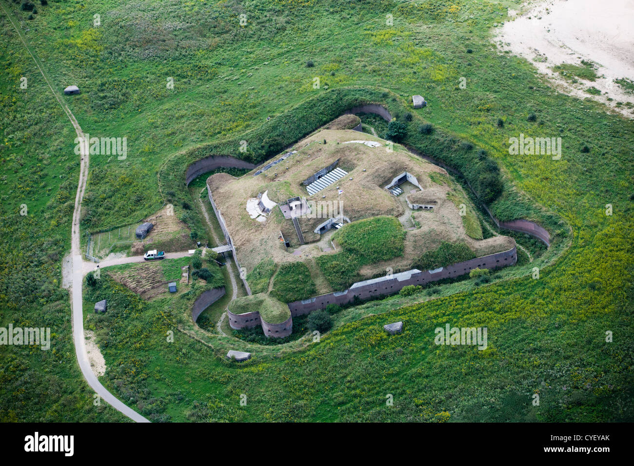 Fort Pannerden was constructed between 1869 and 1871 to serve as part of the New Dutch Waterline. Aerial. - Stock Image