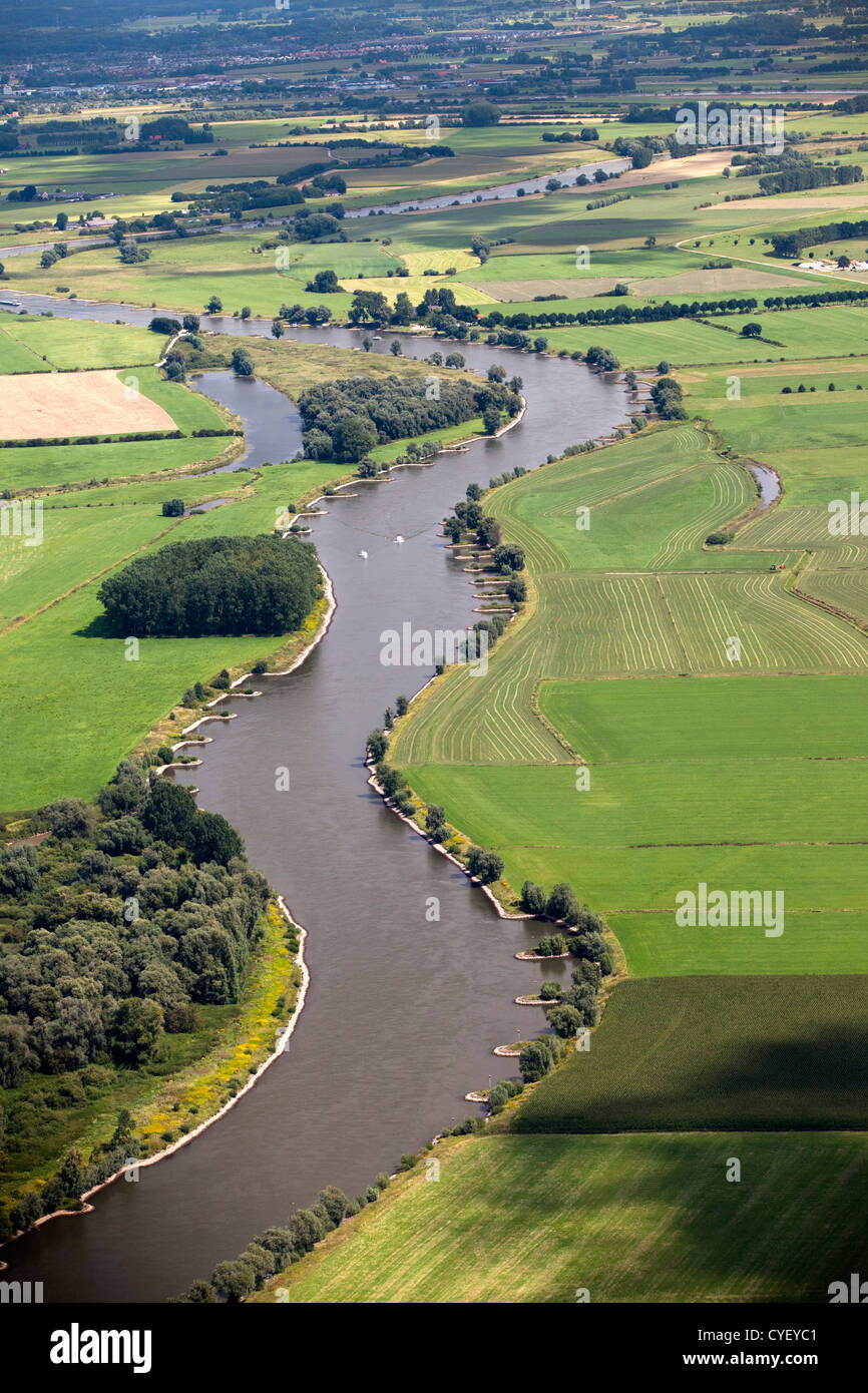 The Netherlands, Rheden, Ijssel river. Aerial. - Stock Image
