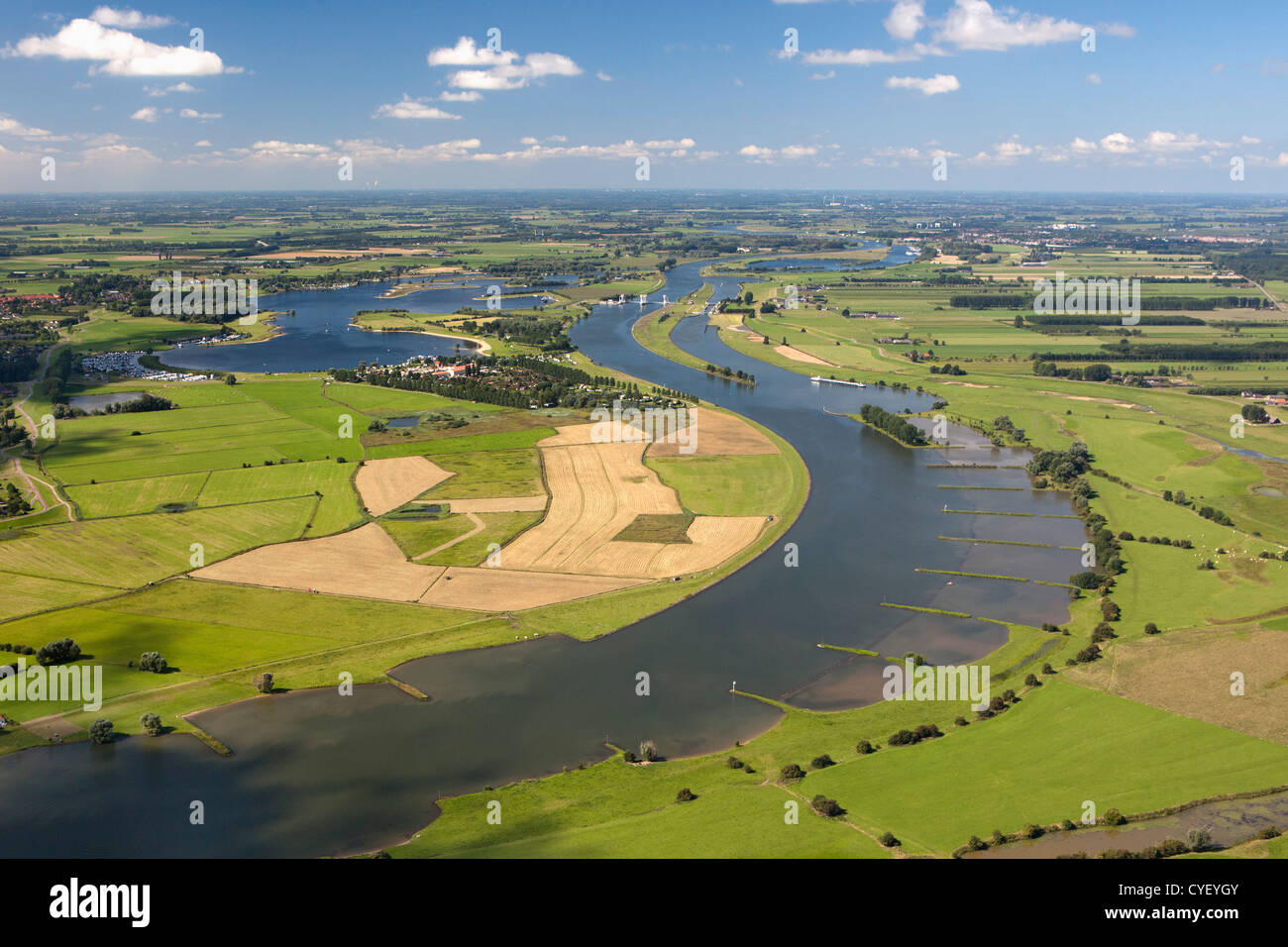 The Netherlands, Maurik, Rhine river. Aerial. - Stock Image