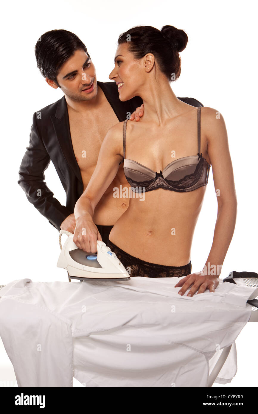 Ironing in lingerie