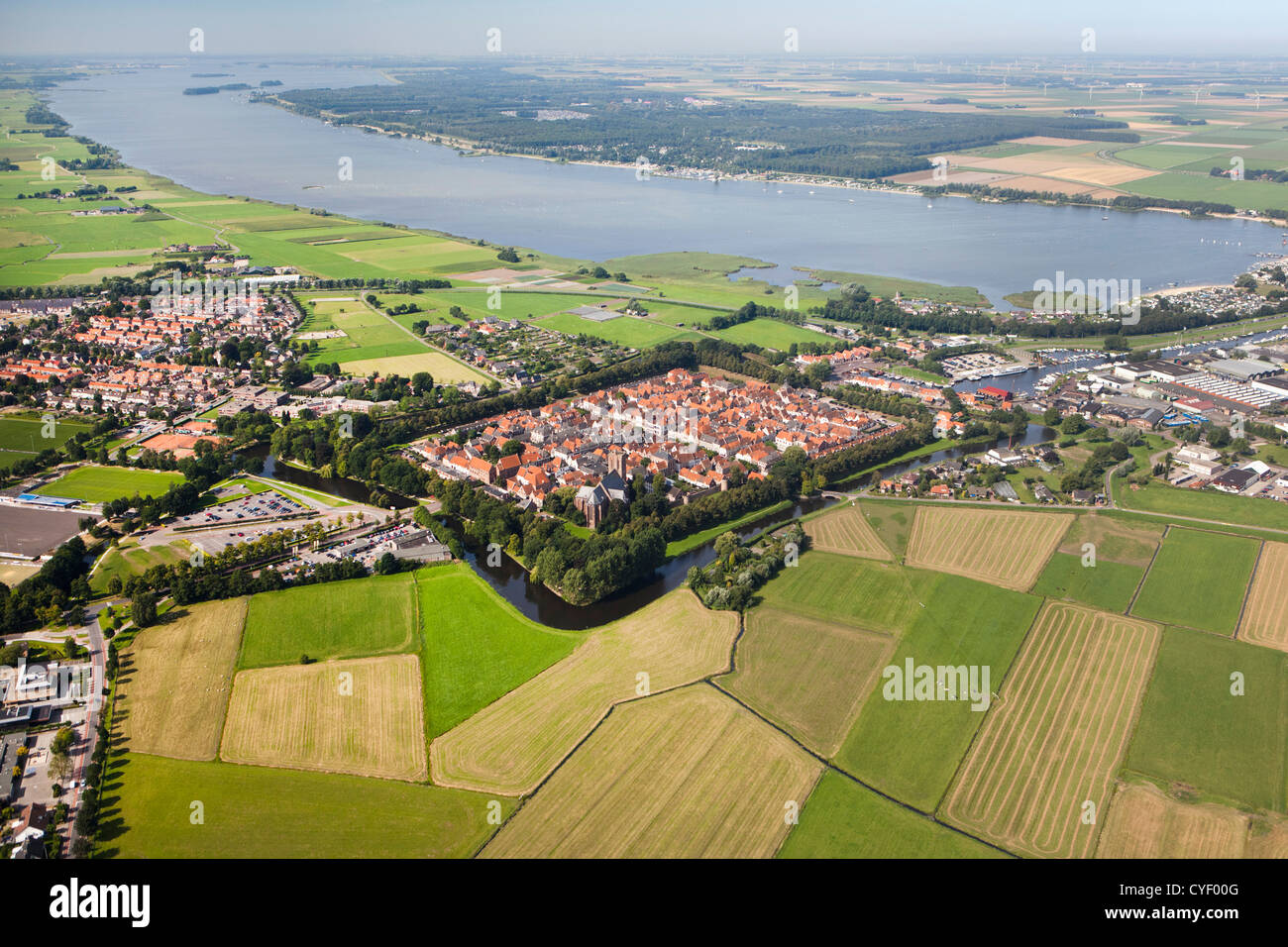 The Netherlands, Elburg. The fortified center of the city. Aerial. - Stock Image