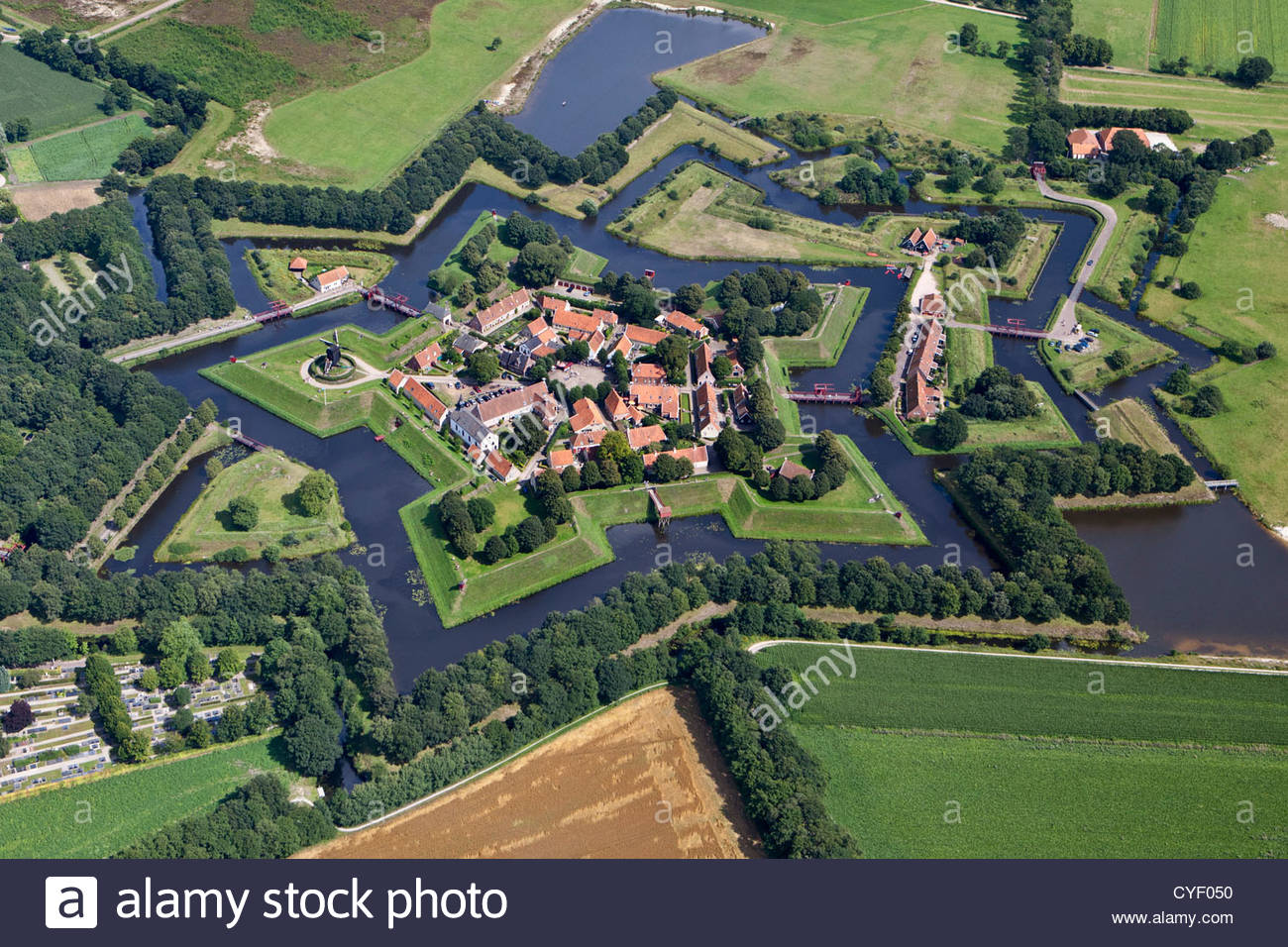 The Netherlands, Vlagtwedde. The fortified village of Fort Bourtange. Aerial. - Stock Image