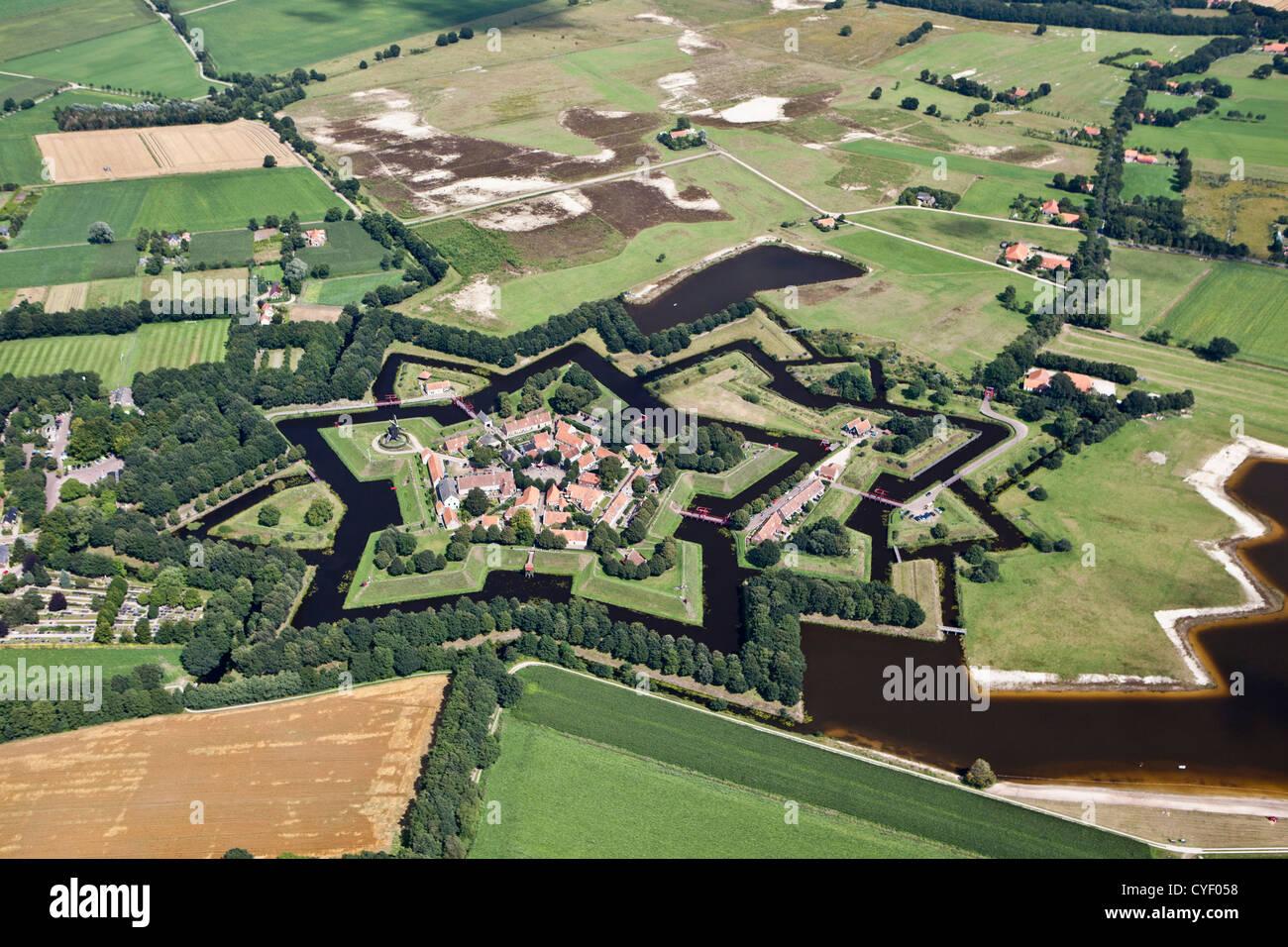 The Netherlands, Vlagtwedde. The fortified, star shaped village of Fort Bourtange. Aerial. - Stock Image