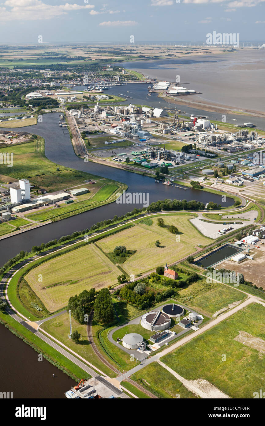 The Netherlands, Delfzijl, City and port, harbor. Aerial. - Stock Image