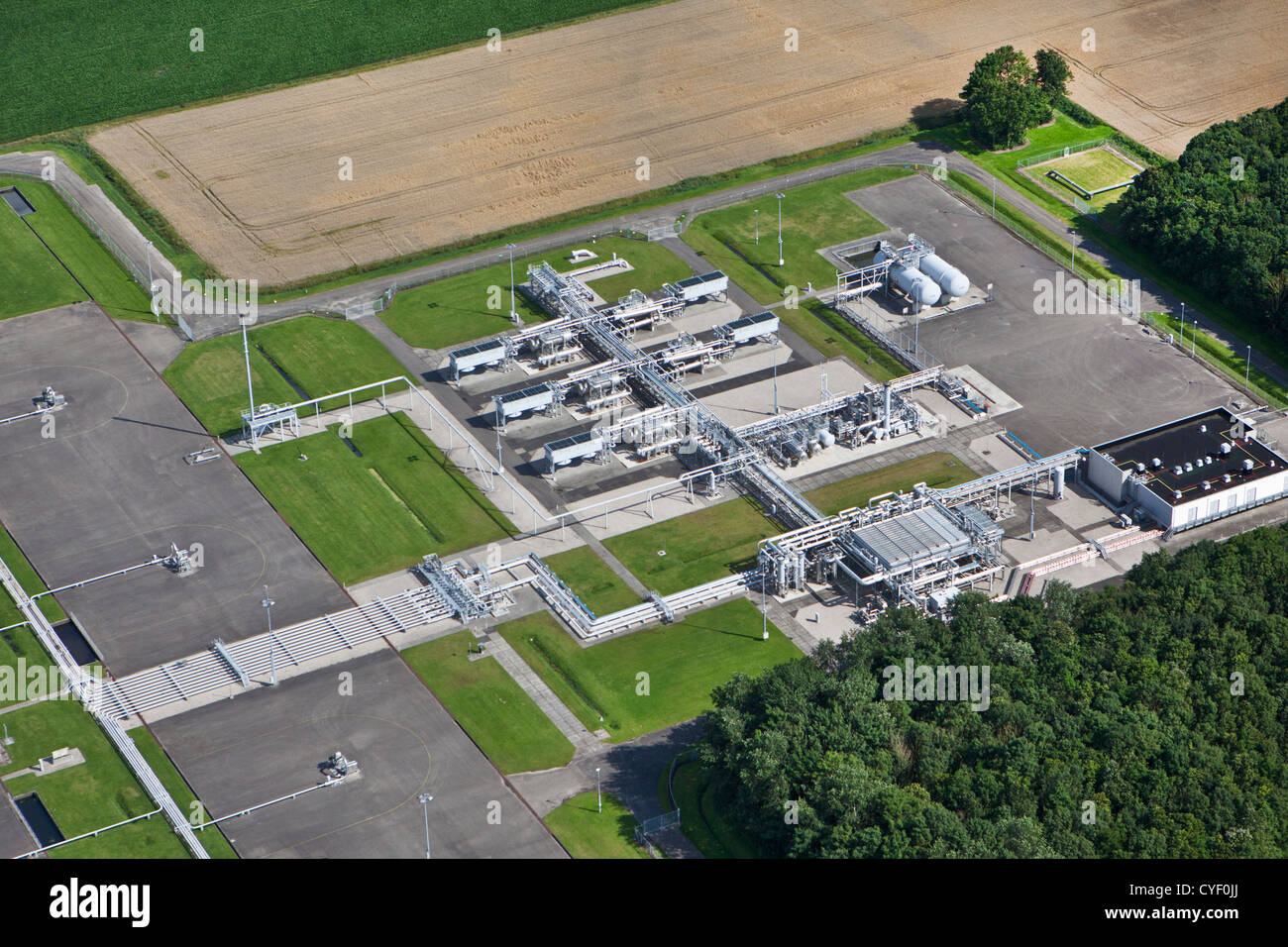The Netherlands, Appingedam. Gas distribution center. Aerial. - Stock Image