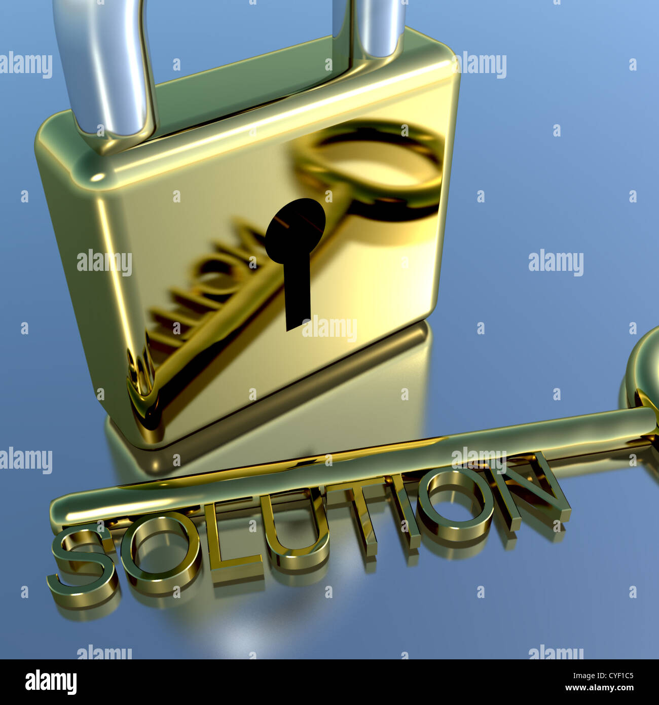 Padlock With Solution Key Showing Strategy Planning And Successes - Stock Image