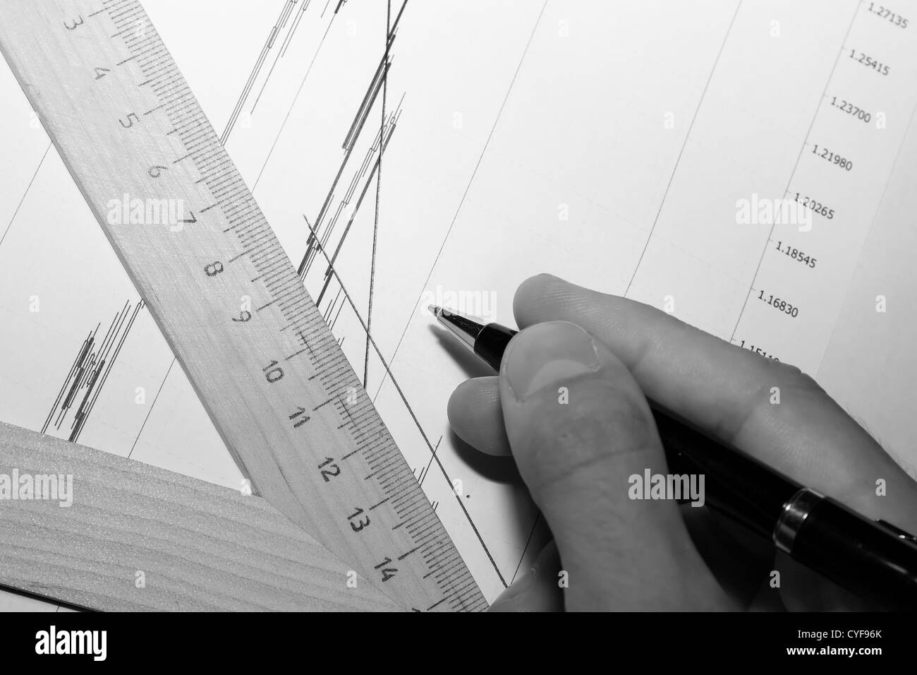 monochrome draft with guidline anf hand with pen. - Stock Image