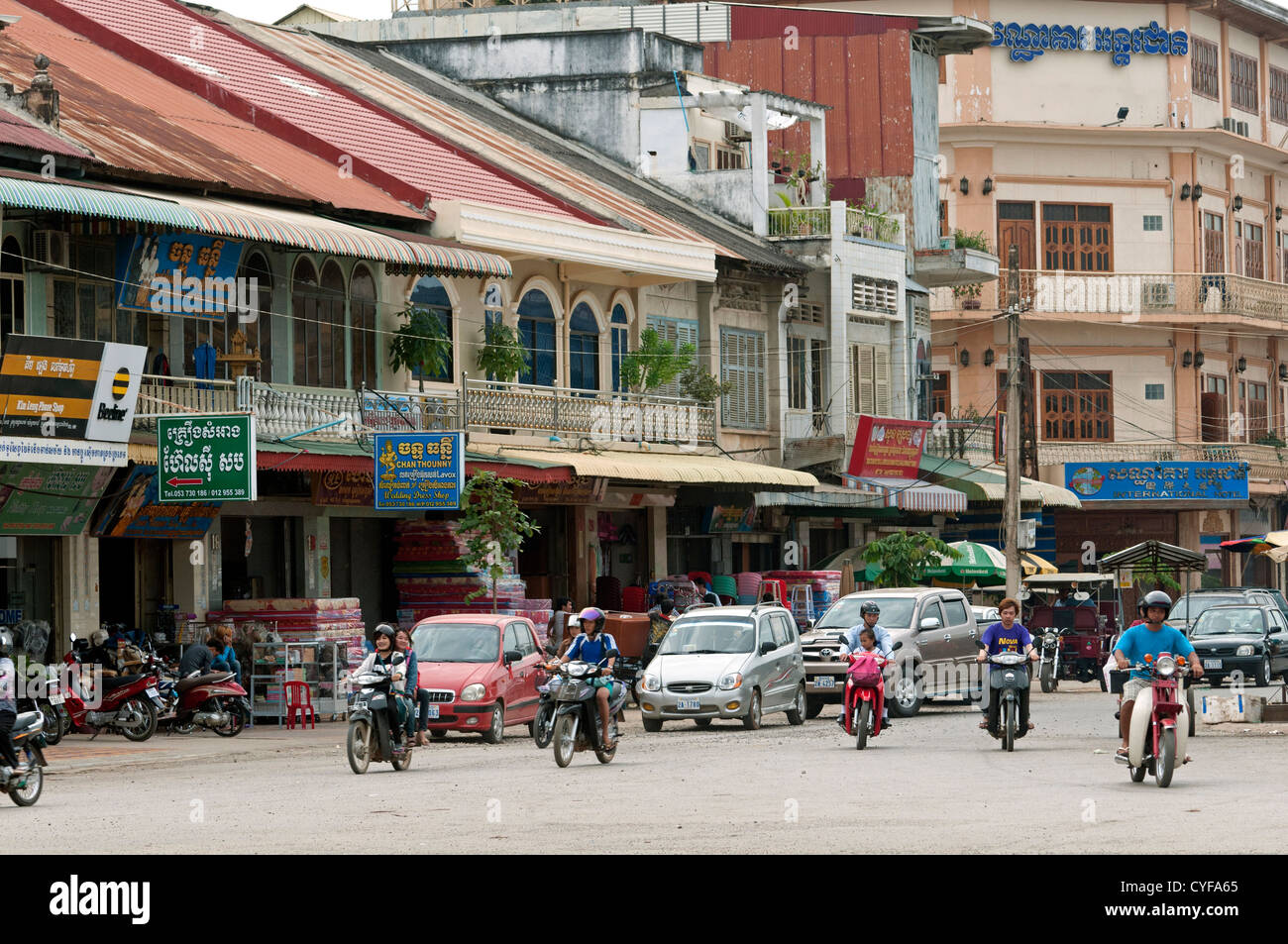 Street scene in the town centre of Battambang, Cambodia - Stock Image