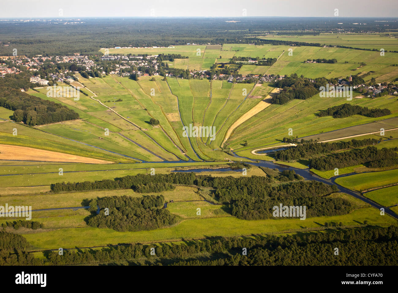 The Netherlands, Loosdrecht, Streams floating to small river called Drecht. Aerial. - Stock Image