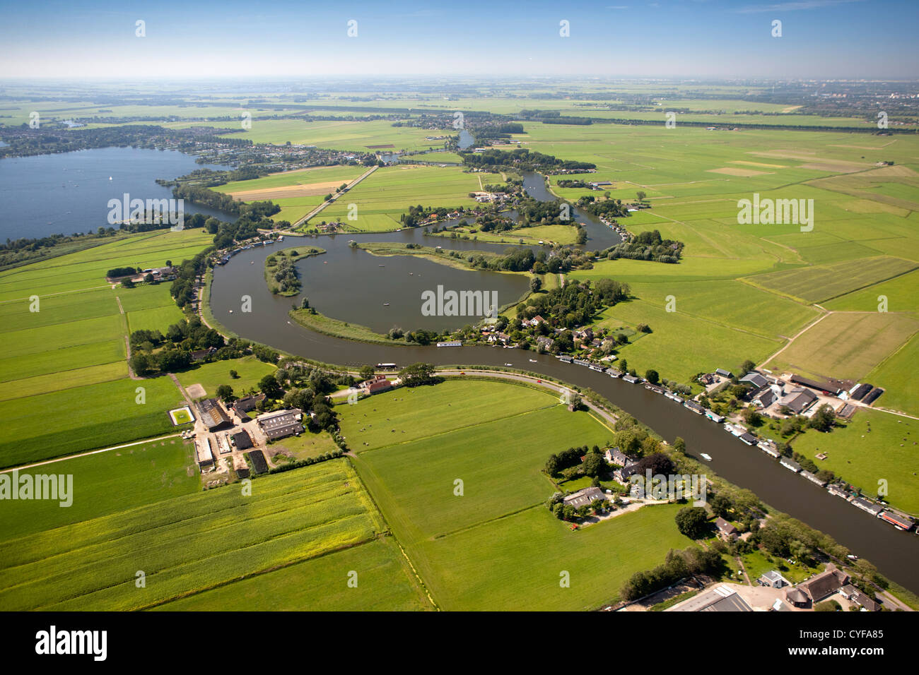 The Netherlands, Nederhorst den Berg. The disappeared Fort Hinderdam. UNESCO World Heritage Site. Aerial. - Stock Image