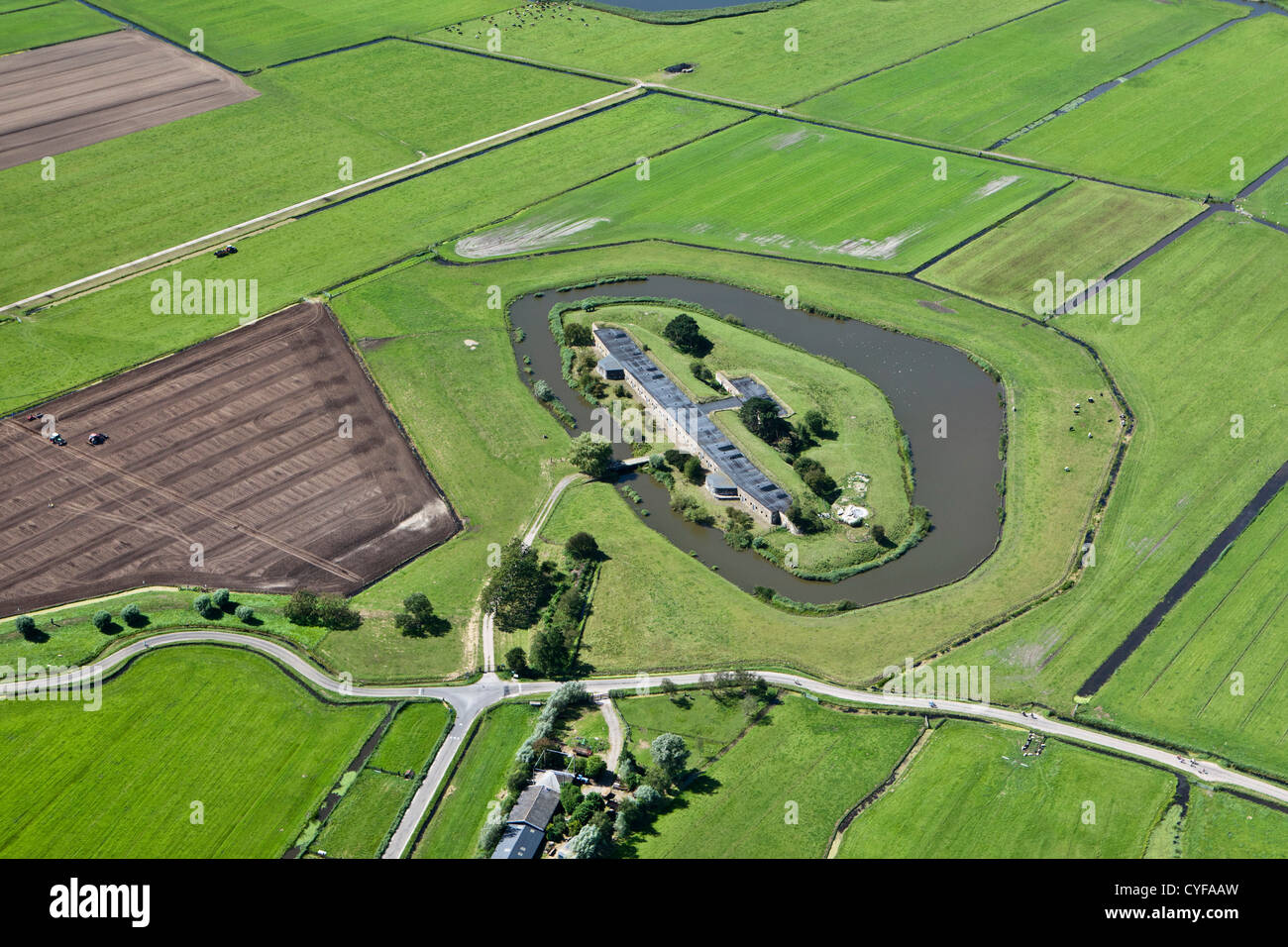 The Netherlands, Markenbinnen, Aerial, One of the 42 forts belonging to the Defence Line of Amsterdam. - Stock Image