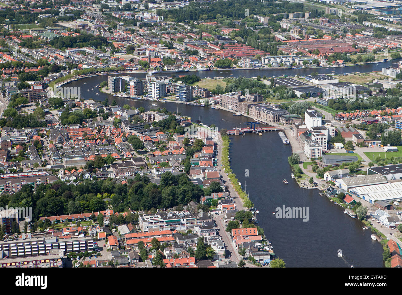 The Netherlands, Wormer (right) and Wormerveer (left), divided by Zaan river. Aerial. - Stock Image