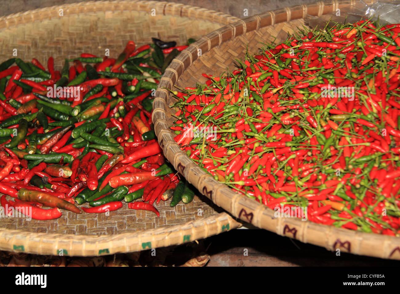 Chilli peppers at the Central Market, Julan Tun Fuad Stephens, Kota Kinabalu, Sabah, Borneo, Malaysia, Southeast - Stock Image