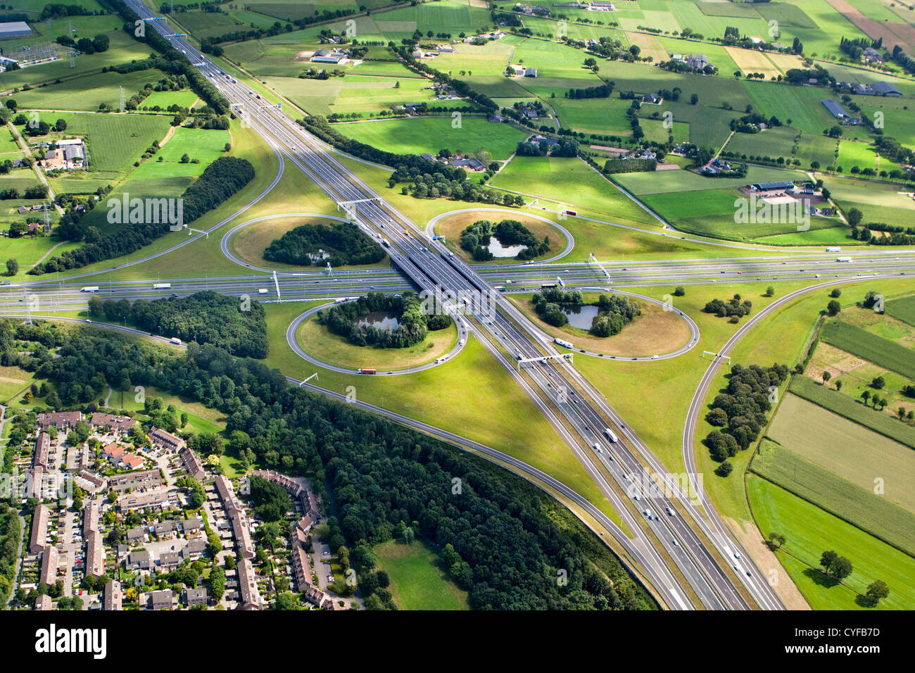 The Netherlands, Apeldoorn, Highway crossing A1 and A50 called Beekbergen  Aerial. - Stock Image