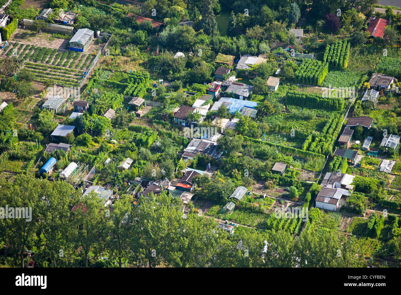 The Netherlands, Oud Zuilen. Garden allotments. Aerial. - Stock Image