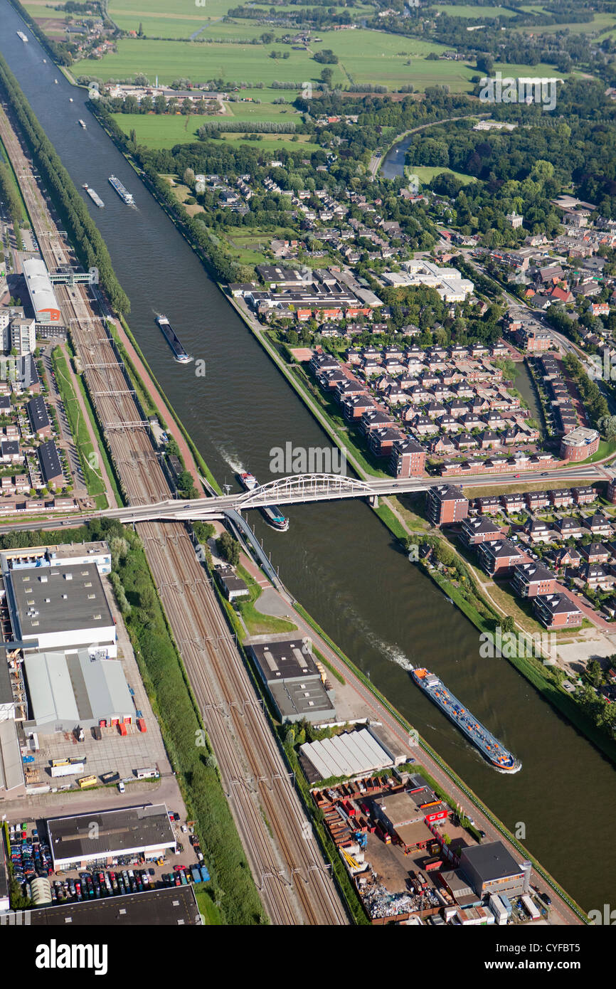 The Netherlands, Maarssen. Canal, mainly for cargo ships called Amsterdam-Rijn Kanaal. Aerial. - Stock Image