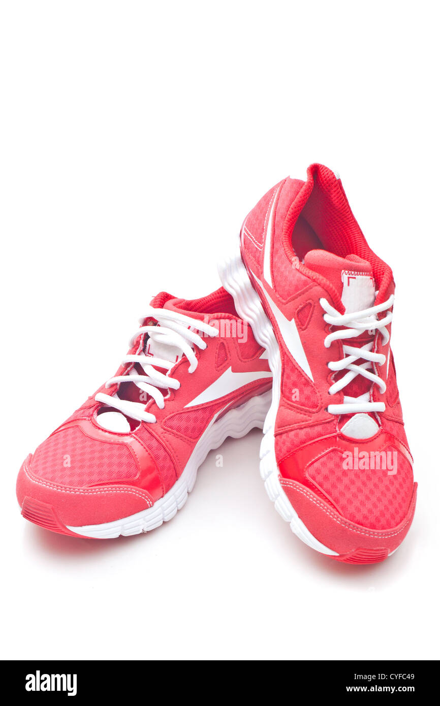 Red running sports shoes - Stock Image