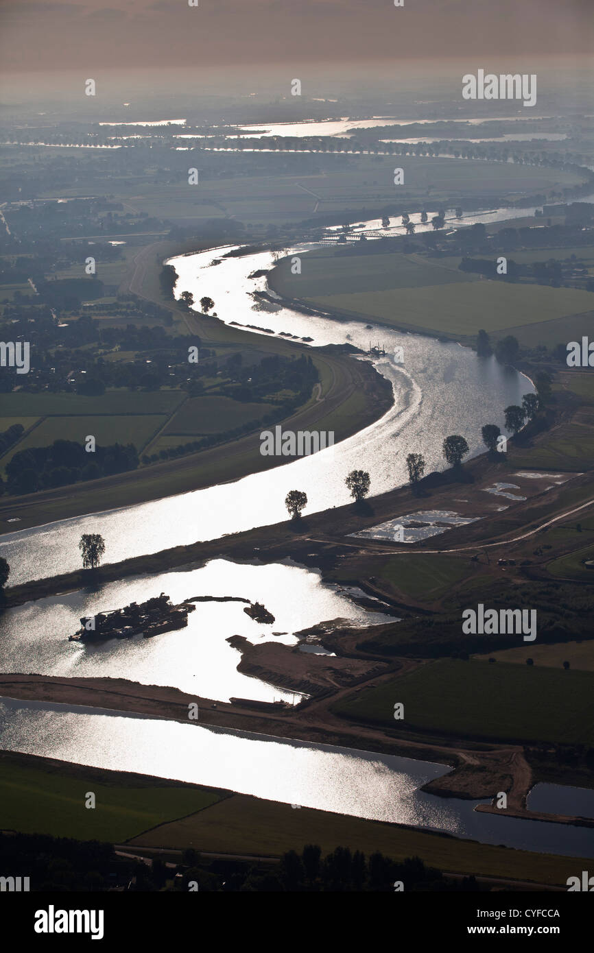 The Netherlands, Cuyk, River Maas or Meuse. Sunrise. Aerial. - Stock Image