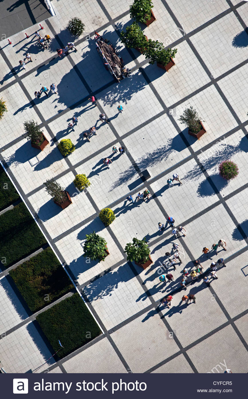 The Netherlands, Venlo, FLORIADE, the World Horticultural Expo 2012, once every 10 years. Aerial. Visitors at entrance. - Stock Image