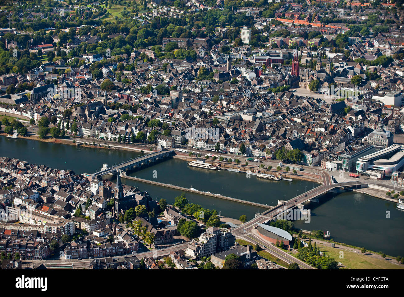 The netherlands maastricht aerial of city center and - Maastricht mobel ...