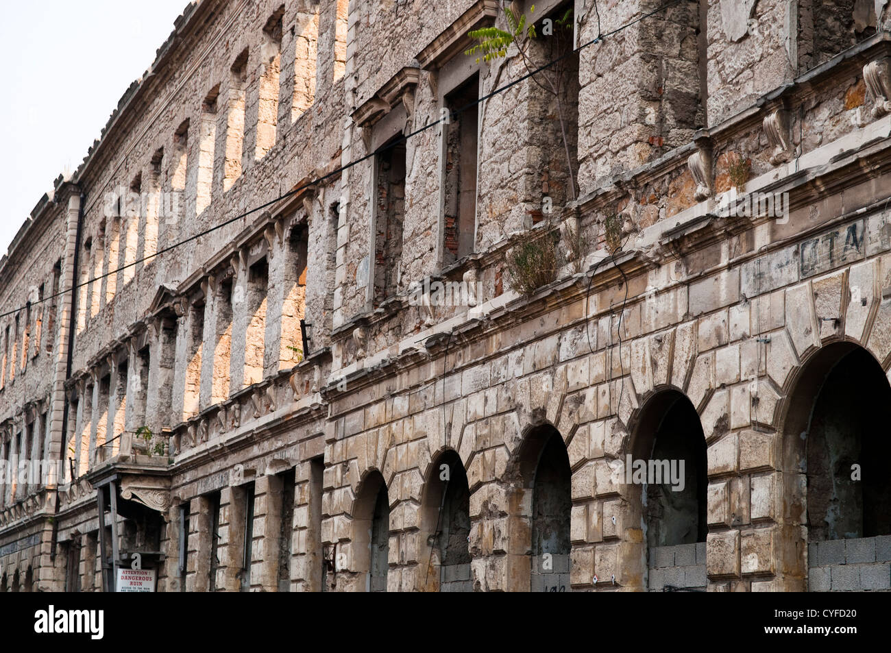 Building destroyed in the war 20 years ago, Mostar, Bosnia and Herzegovina - Stock Image
