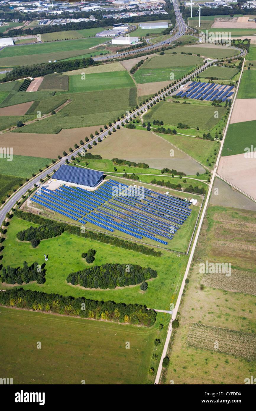 The Netherlands, Heerlen, Industrial solar panel field. Aerial. - Stock Image