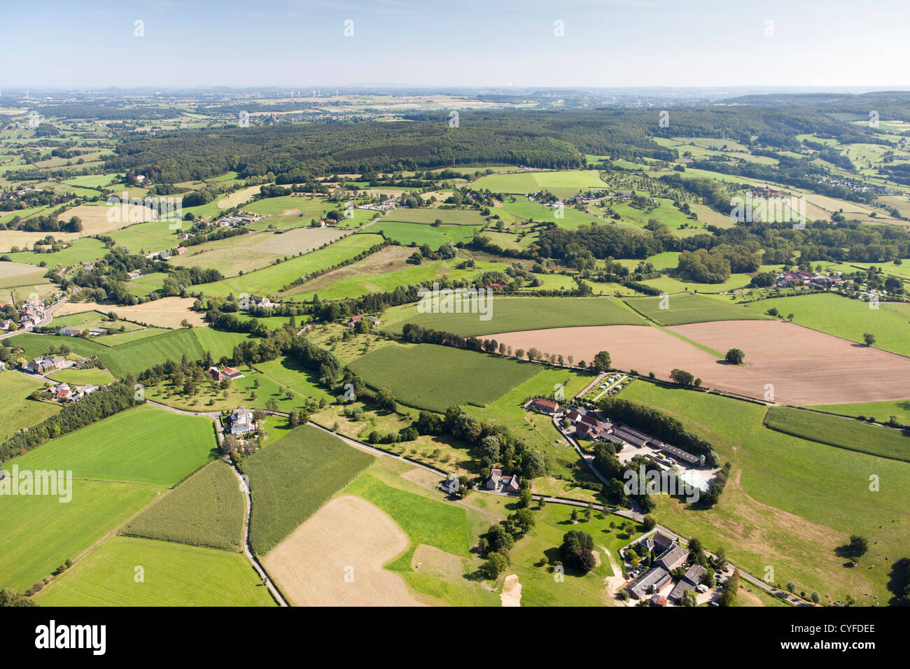 The Netherlands, Epen, Half timbered farms and farmland. Aerial. - Stock Image