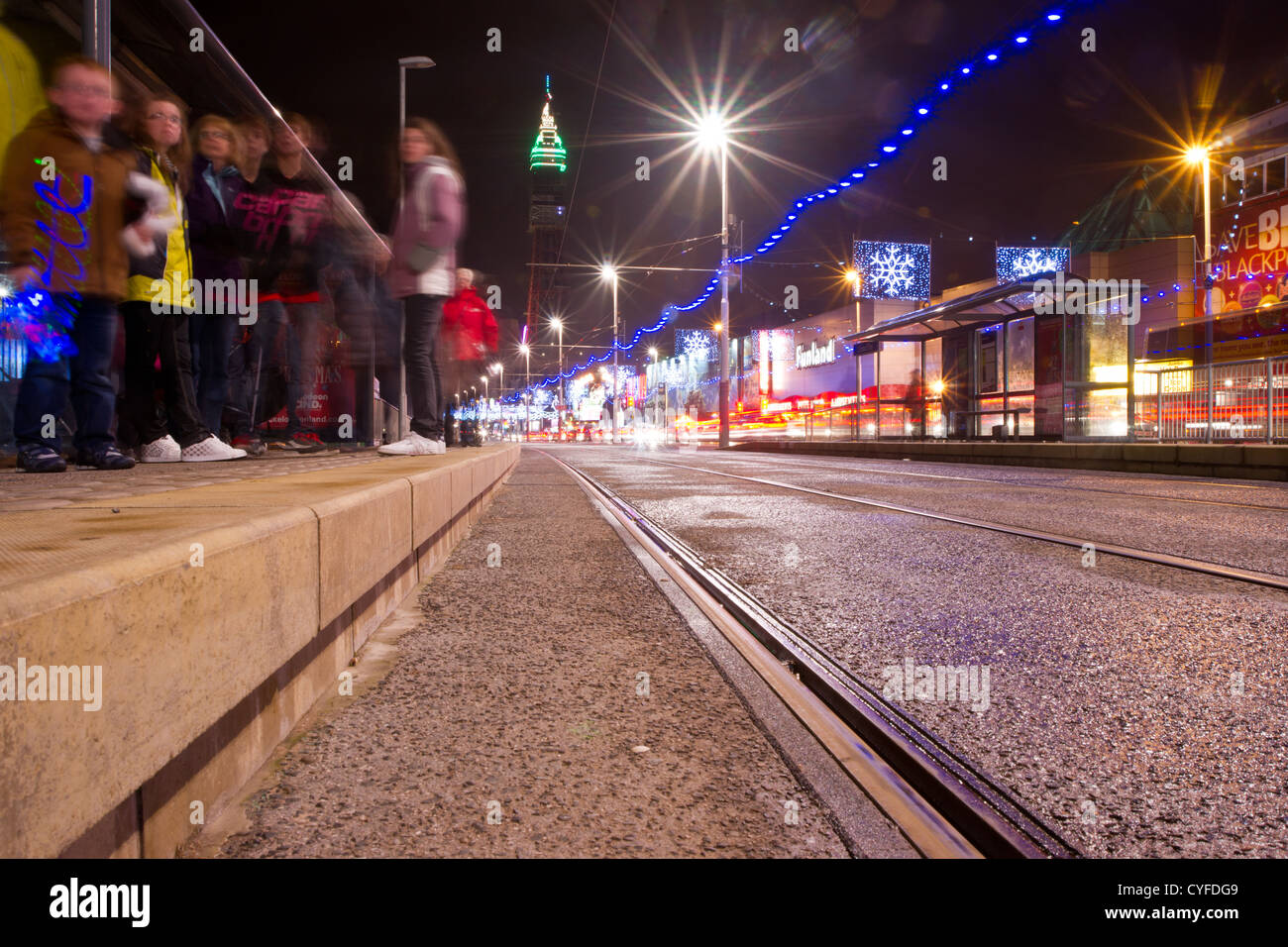 People waiting from a tram during the Blackpool illuminations Stock Photo