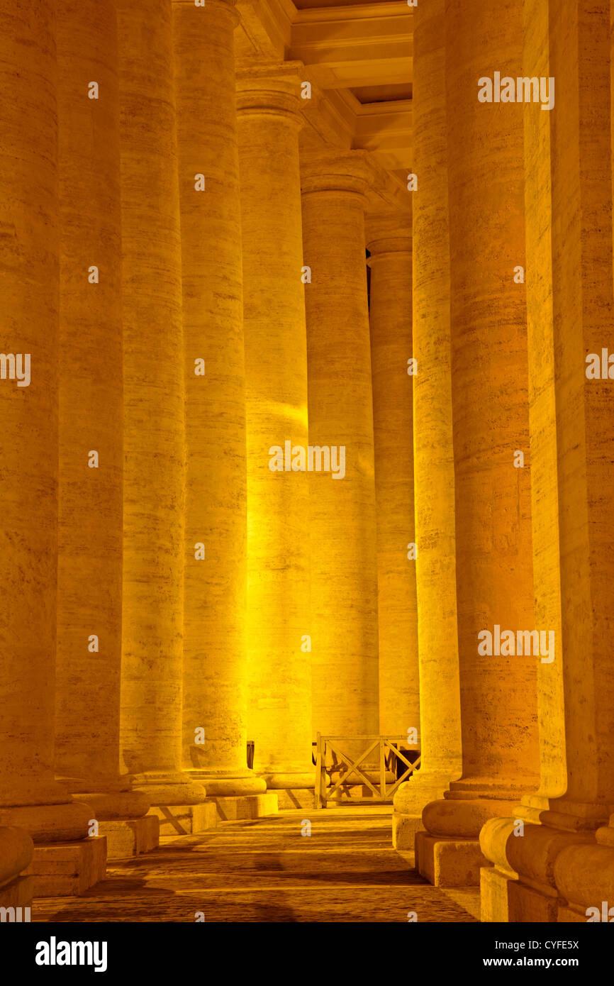 Rome - column of Bernini colonnade - Stock Image
