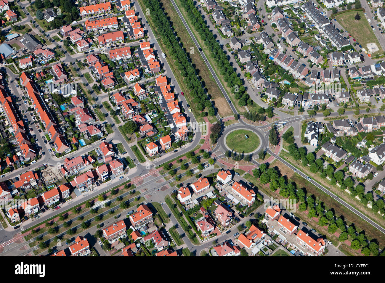 The Netherlands, Helmond, Residential district called Brandevoort. Aerial. - Stock Image