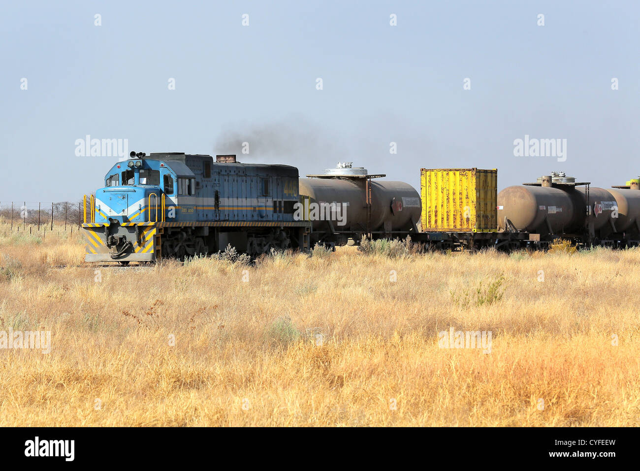 Diesel locomotive, freight train in Namibia - Stock Image