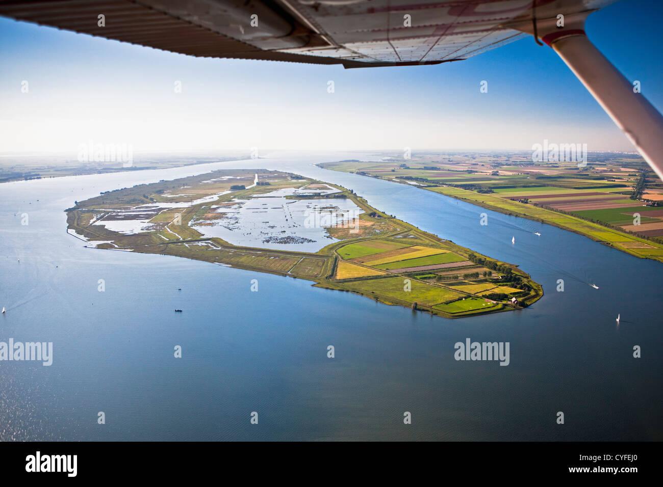 The Netherlands, Korendijk, island of Tiengemeten, Aerial. - Stock Image