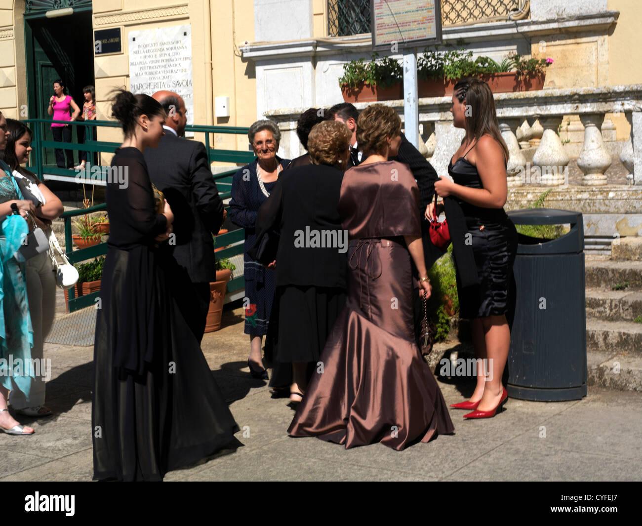 Monte Pellegrino Sicily Italy Sanctuary of Santa Rosalia Guests at a Sicilian Wedding wearing Black - Stock Image