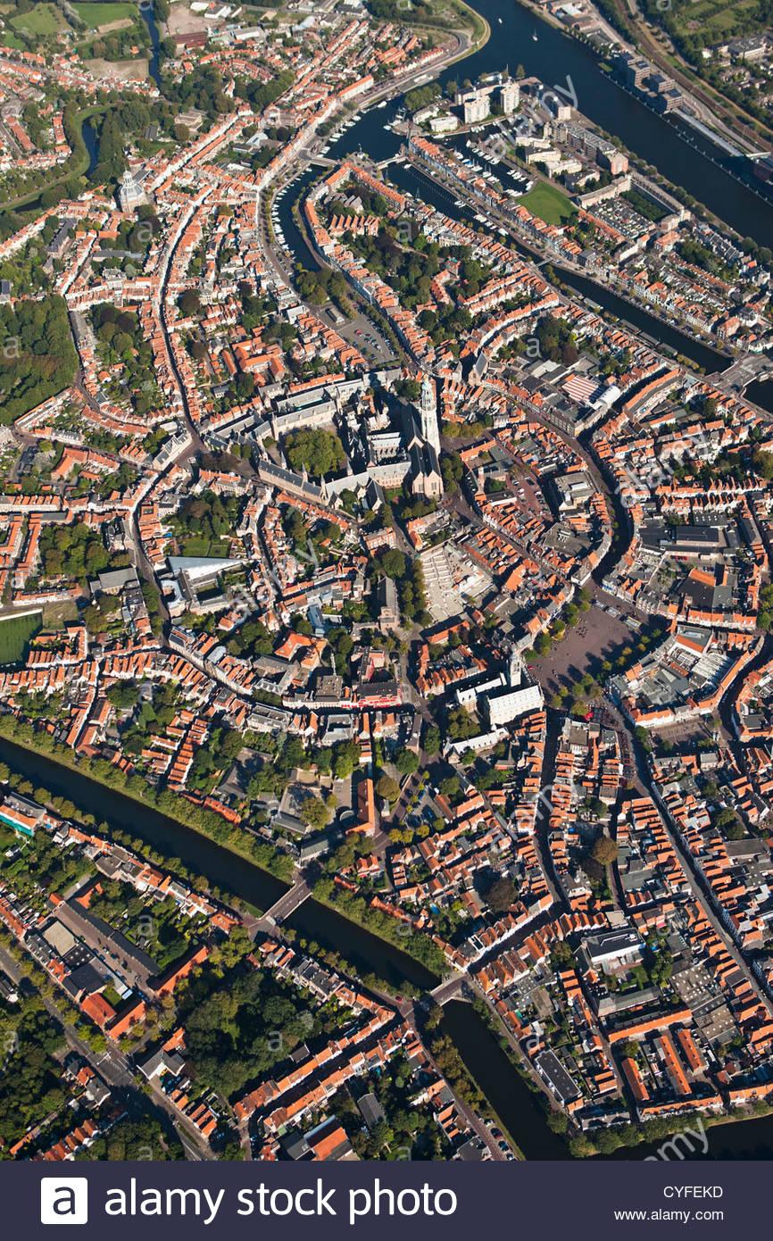 The Netherlands, Middelburg, City center. Aerial. - Stock Image