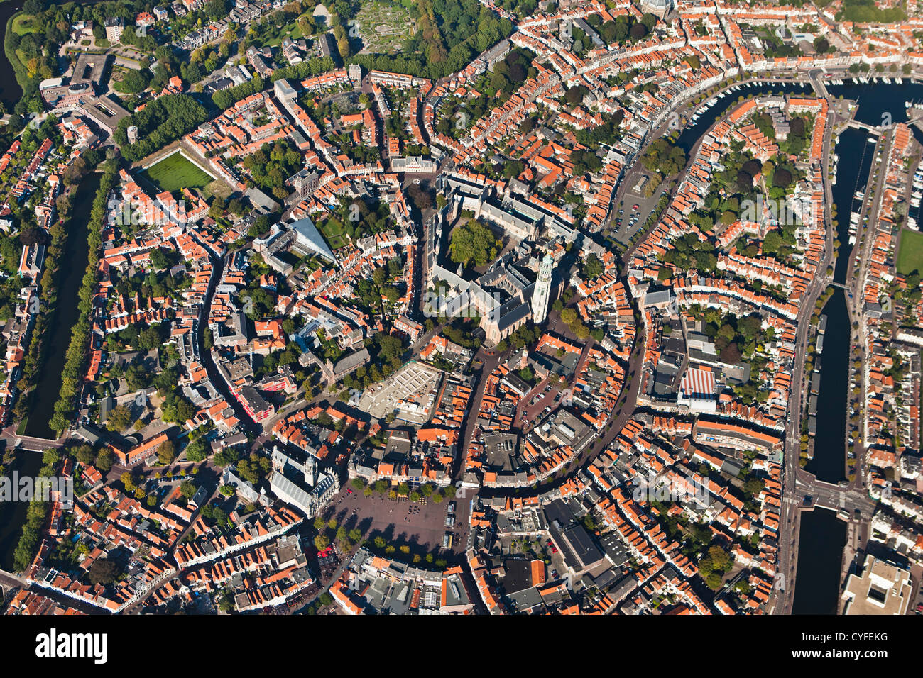 The Netherlands, Middelburg, City center. Aerial. Stock Photo