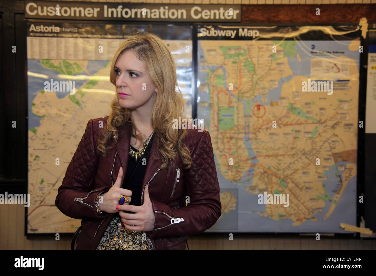 Astoria Subway Map.Woman Standing In Front Of Subway Map At Station In Astoria Queens