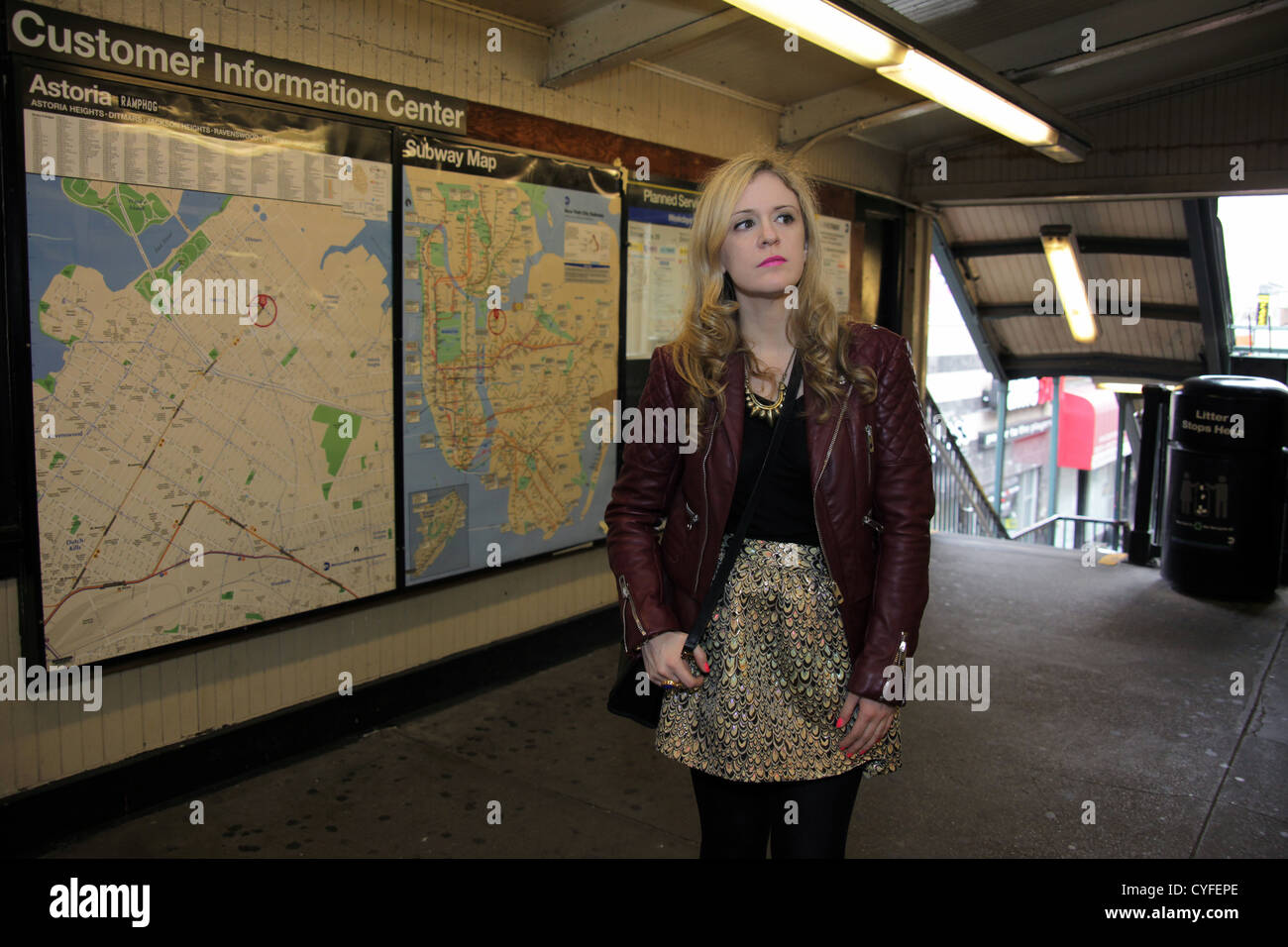 Astoria Subway Map.Woman Standing Near Subway Map At Station In Astoria Queens New