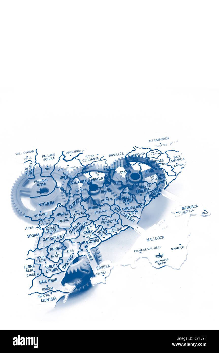 Catalonia production energy map - Stock Image