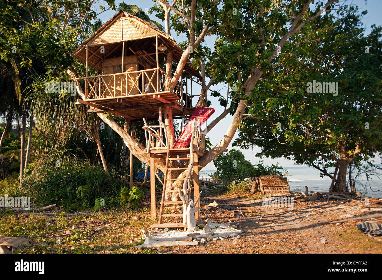 Tree house on Ara Beach Sulawesi Indonesia - Stock Image