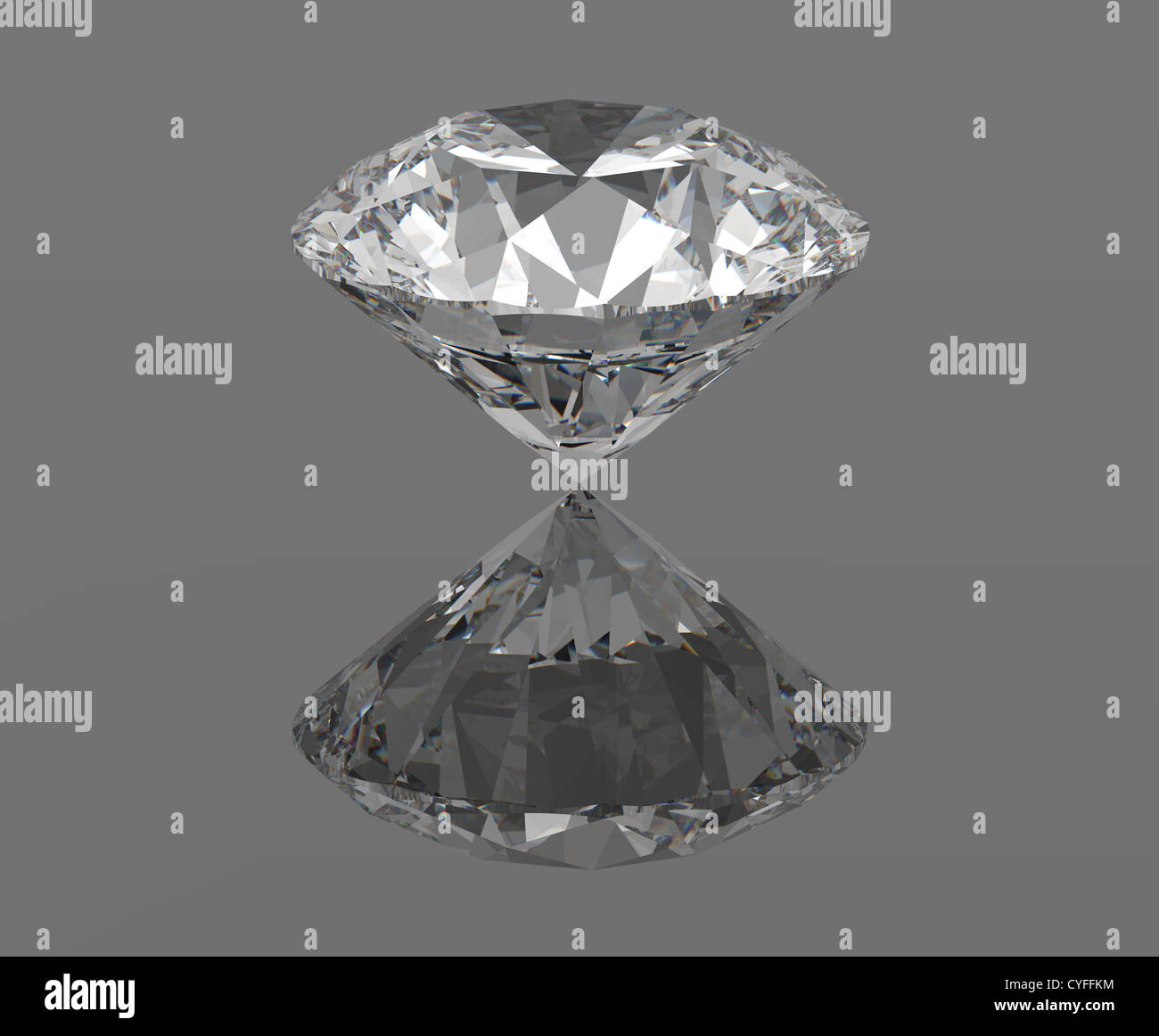 Diamond, gemstone isolated with reflections, 3d render - Stock Image