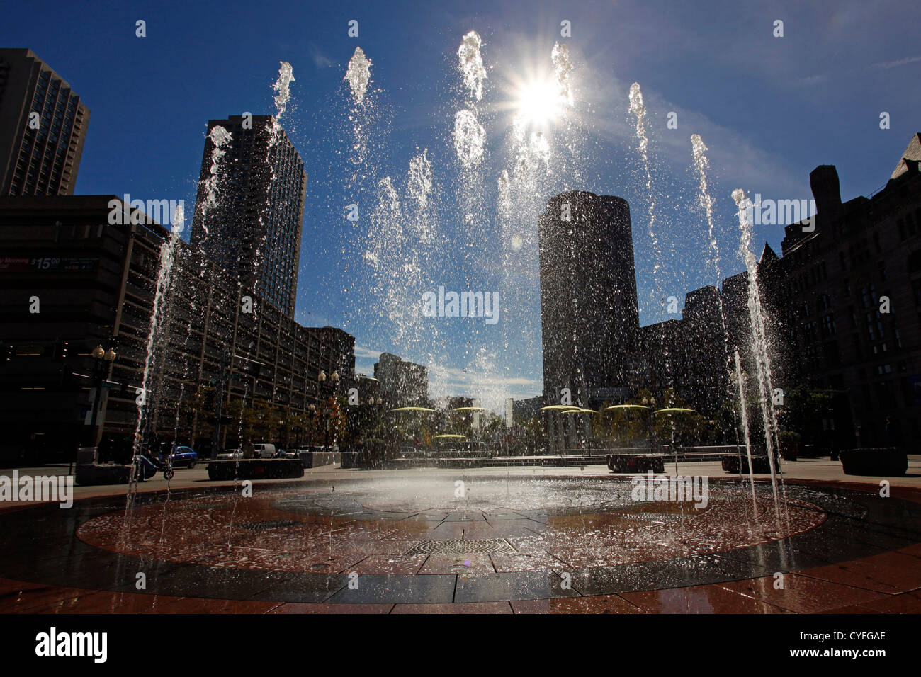 Jets of water at Rings Fountain in the Wharf District of Boston, Massachusetts, America - Stock Image