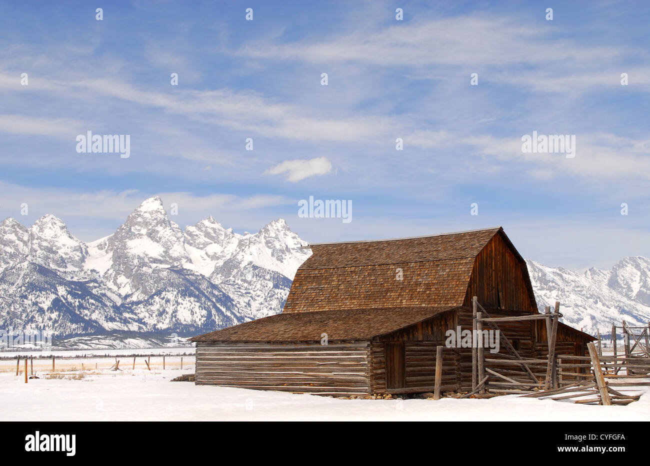 Winter view of the Moulton Barn in the Teton National Park - Stock Image