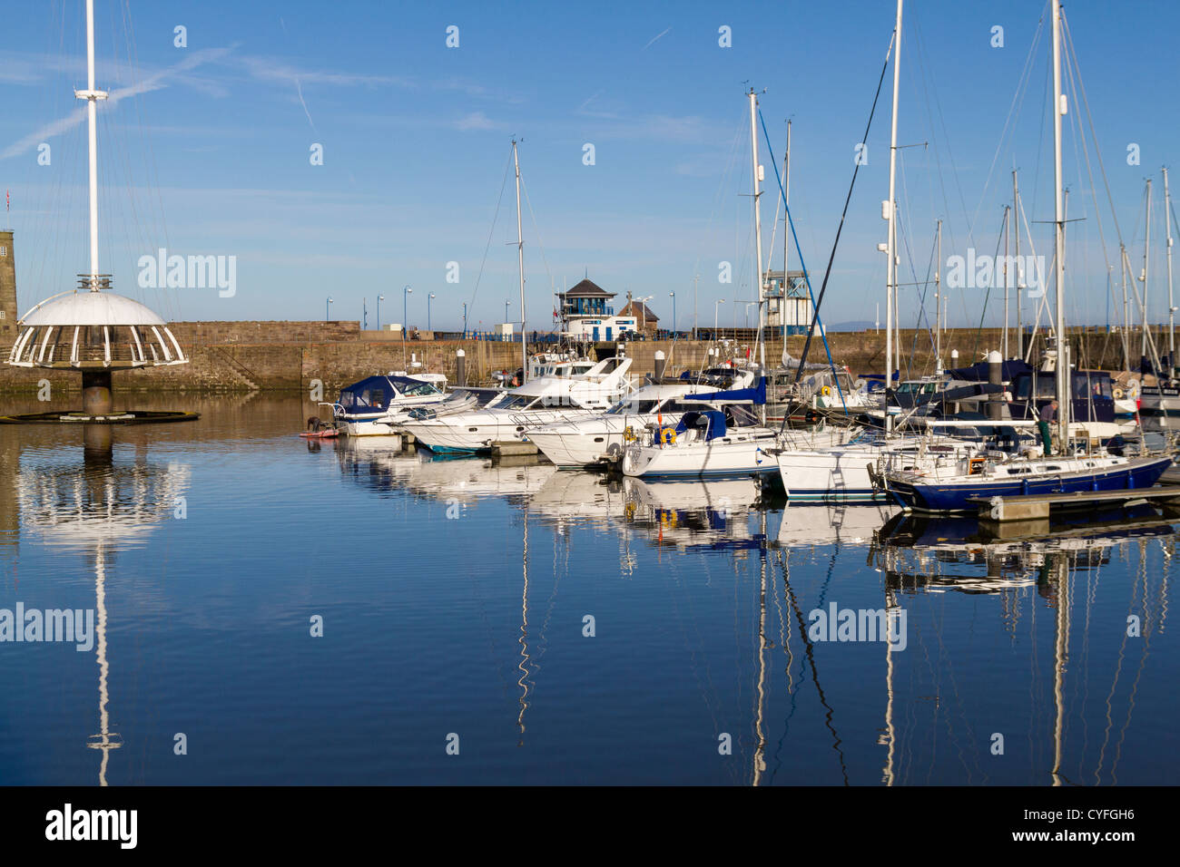 Harbour and waterfront in Whitehaven Cumbria - Stock Image