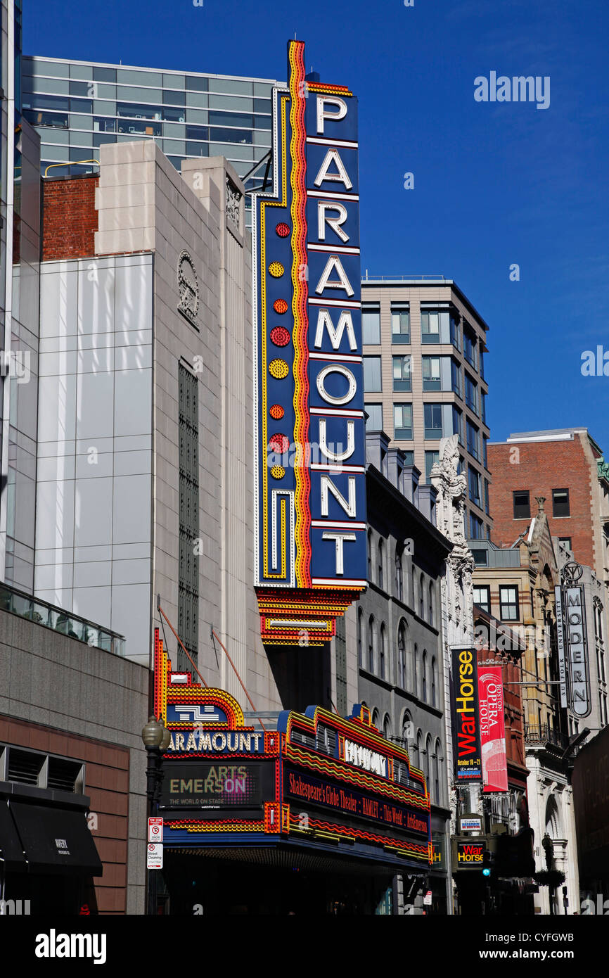 Paramount Theatre in the Theater District, Boston, Massachusetts, America - Stock Image